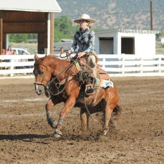 """Taren slides to a stop on her A-#1 cow horse, """"Tuffy."""" She showed him in the Snaffle Bite Futurity in Reno, and has brought him all the way to the bridle stage herself."""