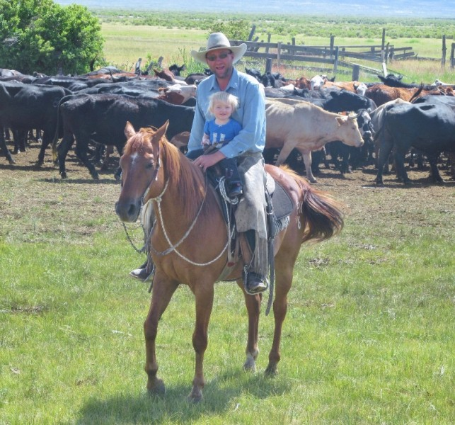 Cowboy and daughter