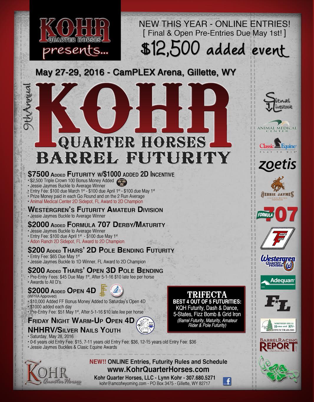 barrel racing futurity, Kohr Quarter Horses