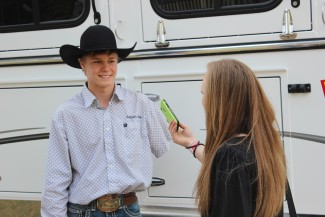 Nathan Urie responds to questions at the Icebreaker Rodeo in Ogden, UT during March 2016.
