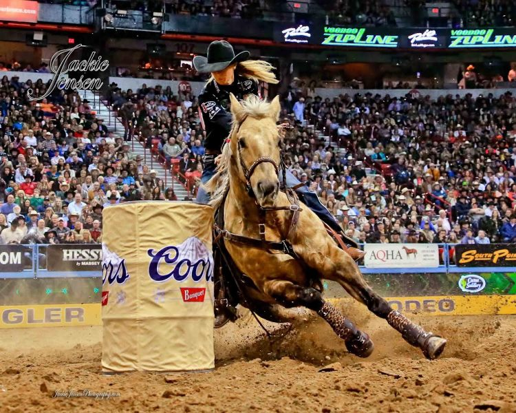 Sherry Cervi competes on Stingray at the NFR. Photo by Jackie Jensen